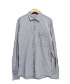 STONE ISLAND()の古着「長袖ロゴ刺繍ストライプシャツ」 ブルー