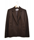 MaxMara(マックスマーラ)の古着「アンゴラ混ウールストライプジャケット」|ブラウン