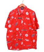 PLEASURES(プレジャーズ)の古着「18SS/FAKE FLOWERS CAMP SHIRT」 レッド