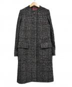 Comptoir des Cotonniers(コントワーデコトニエ)の古着「アルパカ混ノーカラーツイードコート」|ブラック