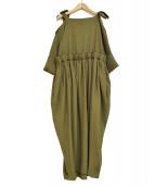 TARO HORIUCHI(タロウホリウチ)の古着「スラブツイル リーフオフショルダードレス」|カーキ