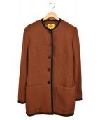 FENDI(フェンディ)の古着「ノーカラーコート」|ブラウン