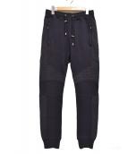 BALMAIN(バルマン)の古着「バイカー切り替えスウェットロングパンツ」|ネイビー