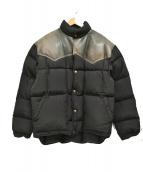 WOOLRICH(ウールリッチ)の古着「90'sレザー切替ダウンジャケット」|ブラック