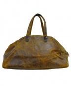 Jas-M.B.(ジャスエムビー)の古着「加工レザーハンドバッグ」 ブラウン