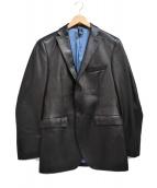 LANVIN en Bleu(ランバンオンブルー)の古着「レザーテーラードジャケット」 ブラック