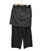 COMME des GARCONS(コムデギャルソン)の古着「AD2004 スカート ドッキング ウールパンツ」 ブラック×グレー