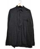 BROWN by 2-tacs(ブラウンバイツータックス)の古着「ウールプレインシャツ」|ブラック
