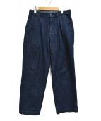 RICCARDO METHA(リカルドメッサ)の古着「デニム ワンウォッシュ 1タック ワイドパンツ」 インディゴ
