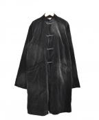 BLACK COMME des GARCONS(ブラックコムデギャルソン)の古着「15AW ブリーチ加工ベロアチャイナコート」|ブラック