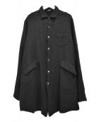 UNDERCOVERISM(アンダーカバイズム)の古着「09AW  縮絨 ウール ロングシャツ」 ブラック