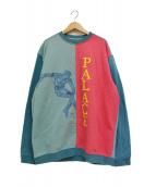 PALACE(パレス)の古着「19AW DISCUSS CREW/スウェット」 ブルー×ピンク