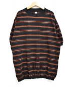 KAPTAIN SUNSHINE(キャプテンサンシャイン)の古着「20SS Crewneck knit Border Tee 」|ブラック×オレンジ