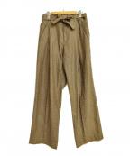 MAISON FLANEUR(メゾン フラネウール)の古着「千鳥格子タックパンツ」 ブラウン