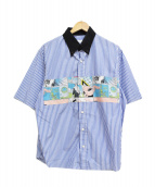 PRADA(プラダ)の古着「17SSコミックプリント半袖ストライプシャツ」|ブルー×ホワイト