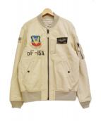 AVIREX(アビレックス)の古着「ゴートレザーMA-1フライトジャケット」|アイボリー