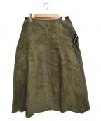 tricot COMME des GARCONS(トリココムデギャルソン)の古着「ジップデザイン レザースカート AD2004」 グリーン