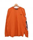 LONELY/論理(ロンリー)の古着「18SS プリント長袖Tシャツ/「常識じゃないんだよあいつ」」|オレンジ