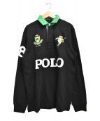 POLO RALPH LAUREN(ポロ・ラルフローレン)の古着「キッカーベア ポロベア ラガーシャツ」|ブラック×グリーン