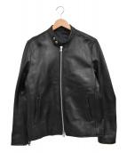 SHIPS(シップス)の古着「ラムレザーシングルジャケット」|ブラック