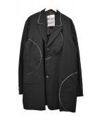 ()の古着「ラウンドパイピングロングジャケット」|ブラック