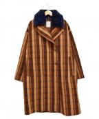 ROSE BUD(ローズバッド)の古着「カラーファー付ビッグダブルコート」 ブラウン