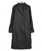 PRADA()の古着「中綿 ナイロン ダブルコート」|ブラック