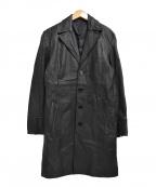 MORGAN HOMME(モルガンオム)の古着「[古着] ラムレザーステンカラーコート」|ブラック