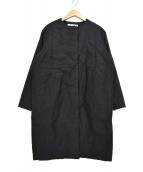 evam eva(エヴァムエヴァ)の古着「ノーカラー 中綿 パディングコート」|ブラック