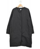 PLST(プラステ)の古着「機能中綿ノーカラーコート」|ブラック