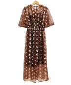 Lily Brown(リリーブラウン)の古着「チュール小花刺繍ワンピース」 ブラウン
