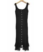 HER LIP TO(ハーリップトゥー)の古着「フリンジ サマーニット ドレス ワンピース」|ブラック