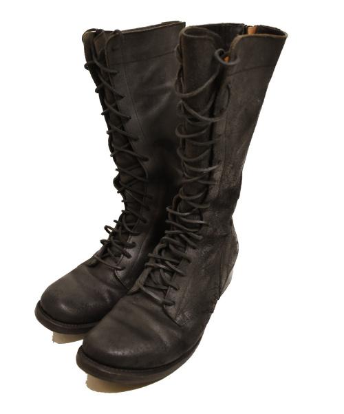INAISCE(インアスカ)INAISCE (インアスカ) レースアップロングブーツ ブラック サイズ:43 ビブラムソール使用の古着・服飾アイテム