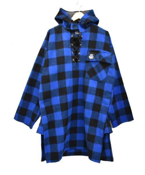 SWANNDRI(スワンドリ)SWANNDRI (スワンドリ) [古着] レースアップ ブロックチェックシャツ ブルー サイズ:Mの古着・服飾アイテム