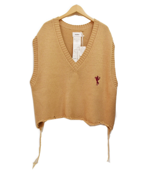 doublet(ダブレット)doublet (ダブレット) 18AW オーバーサイズ ダメージ加工 ニット ベージュ サイズ:FREE OVERSIZED BROKEN VESTの古着・服飾アイテム