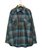()の古着「ウールチェックシャツ」|スカイブルー