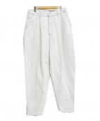 Hed Mayner(ヘド メイナー)の古着「タックテーパードデニムパンツ」|ホワイト