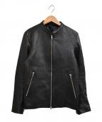 LIDnM(リドム)の古着「ラムレザー シングル ライダースジャケット」|ブラック