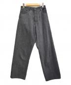KURO(クロ)の古着「20AW Crossed Denim デニムパンツ」|ダークグレー