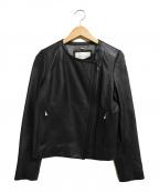 La TOTALITE(ラトータリテ)の古着「ラムレザーノーカラーライダースジャケット」|ブラック