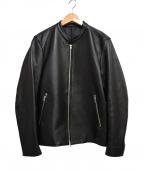 LIDnM(リドム)の古着「ラムレザーシングルライダースジャケット」|ブラック