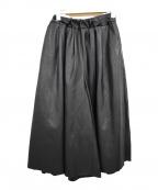 SACRA(サクラ)の古着「フェイクレザーワイドキュロット ガウチョパンツ」|ブラック