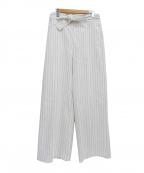 martinique(マルティニーク)の古着「リネン混ストレッチワイドパンツ」 ホワイト×ブラック