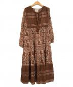 blue boheme(ブルーボヘム)の古着「ドレス総柄ブラウスワンピース」|ブラウン