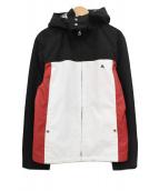 BURBERRY BLACK LABEL(バーバリーブラックレーベル)の古着「フード付ロゴ刺繍ジップジャケット」|ブラック