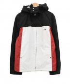 BURBERRY BLACK LABEL(バーバリーブラックレーベル)の古着「フード付ロゴ刺繍ジップジャケット」 ブラック