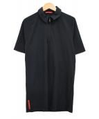 PRADA SPORTS(プラダスポーツ)の古着「半袖ジップアップポロシャツ」|ブラック