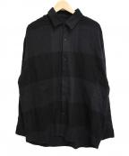 LAD MUSICIAN()の古着「20AWバッファローチェックビッグシャツ」|ブラック