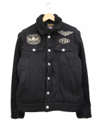 VANSON()の古着「スカル刺繍ランチボアジャケット」|ブラック