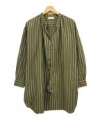 BEAUTY&YOUTH()の古着「マルチストライプウエストリボンロングシャツ」|オリーブ